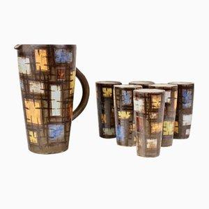 Servicio de bebidas de cerámica Vallauris de Kostanda Alexandre, años 60