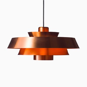 Danish Model Nova Copper Ceiling Lamp by Johannes Hammerborg for Fog & Mørup, 1960s