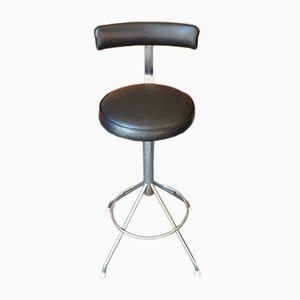 Industrial Black Padded Vinyl Stool, 1960s
