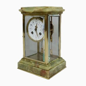 Antique French Onyx and Brass Clock from Samuel Marti