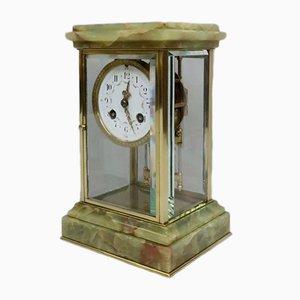 Reloj francés antiguo de ónix y latón de Samuel Marti