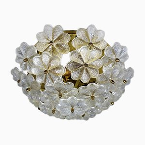German Glass Flower Ceiling Lamp from Palwa, 1960s