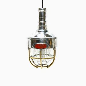 Lampada da soffitto industriale in vetro e ottone, anni '80