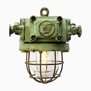 Industrielle Blaue und Grüne Deckenlampe aus Klarglas, 1950er