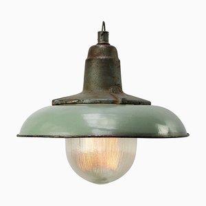 Deckenlampe aus Gusseisen und emailliertem Glas von Holophane, 1950er