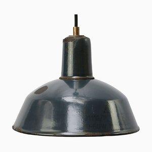 Industrielle blaue Emaille Deckenlampe, 1950er