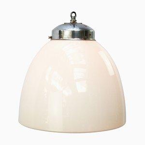 Deckenlampe aus Weißem Metall & Opalglas, 1950er