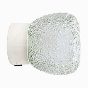 Frosted Glass Porcelain Sconce, 1950s