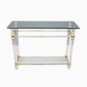 Glass, Brass, and Lucite Console Table, 1970s
