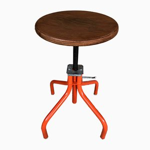 Industrial Metal and Wood Adjustable Swivel Stool, 1970s