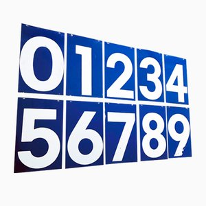Vintage American Blue and White Gas Station Number Signs, Set of 10