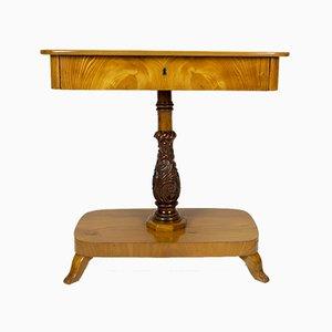 Antiker dänischer Biedermeier Konsolentisch aus Ulmenholz
