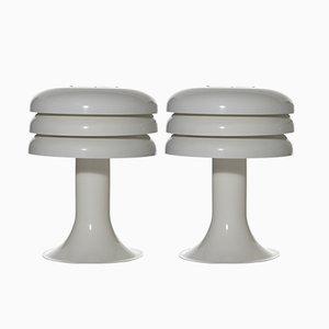 Lampes de Bureau Modèle BN-25 Blanches de Hans-Agne Jakobsson AB Markaryd, 1960s, Set de 2