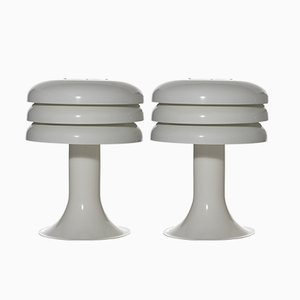 Model BN-25 White Table Lamps from Hans-Agne Jakobsson AB Markaryd, 1960s, Set of 2