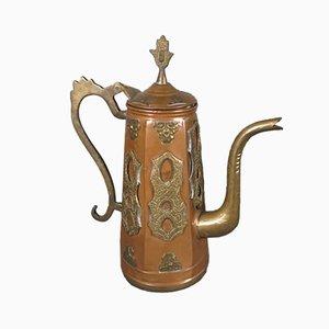 Antike Jugendstil Teekanne aus Kupfer & Messing