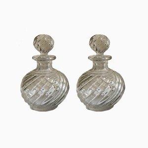 Antike Kristallglas Wirbel Parfümflaschen von Baccarat, 2er Set