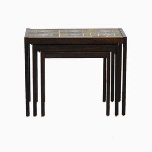 Tavolini ad incastro in palissandro, Danimarca, anni '70, set di 3
