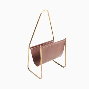 Leather and Brass Magazine Rack by Carl Auböck, 1950s