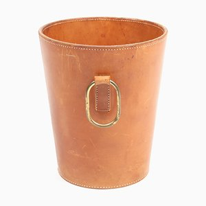 Leather and Brass Waste Paper Basket by Carl Auböck for Illums Bolighus, 1950s