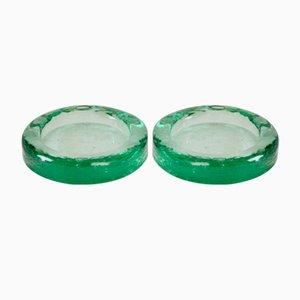 Ceniceros vintage en verde de Fontana Arte, años 50. Juego de 2