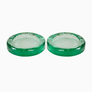 Vintage Green Ashtrays from Fontana Arte, 1950s, Set of 2