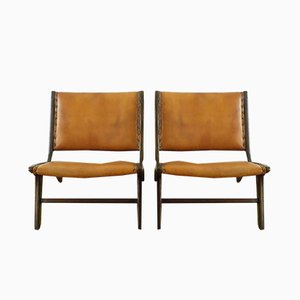 Leather and Walnut Lounge Chairs by Vladimir Kagan, 1950s, Set of 2