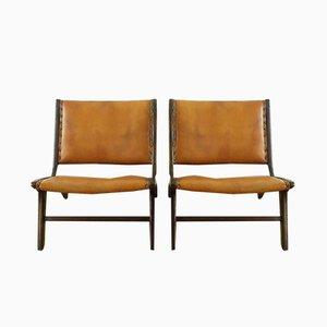 Sessel aus Leder & Nussholz von Vladimir Kagan, 1950er, 2er Set