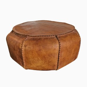 Leather Pouf, 1950s