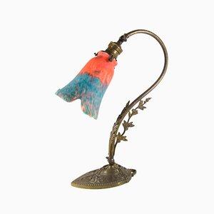 Französische Jugendstil Glas Tischlampe, 1920er