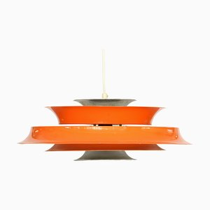 Danish Orange Lacquered Ceiling Lamp, 1970s
