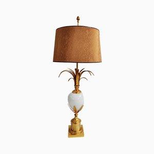 Lámpara de mesa de latón y opalina de Boulanger, años 70