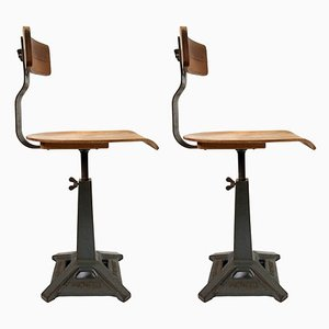 Vintage Industrial Simanco Factory Chairs from Singer, 1940s, Set of 2