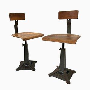 Industrielle Vintage Simanco Fabrikstühle von Singer, 1940er, 2er Set