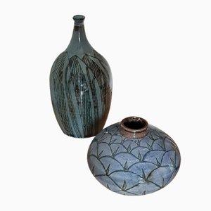 Österreichische Mid-Century Keramik Vasen von Rudolf Knörlein, 2er Set