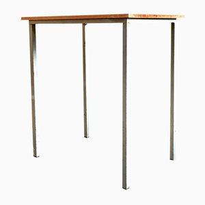 Industrieller Arbeitstisch aus Stahl und Holz, 1980er