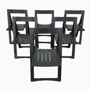 Vintage Italian Black Folding Chairs by Aldo Jacober, Set of 6