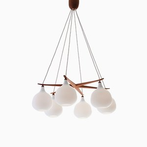 Opaline Glass and Oak Chandelier by Uno & Östen Kristiansson for Luxus, 1950s
