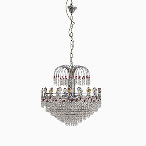 Empire Style Chandelier with Swarovsky Crystal Drops, 1970s
