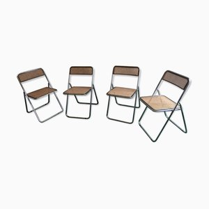 Vintage Chrome Plated & Cane Folding Chairs, 1970s, Set of 4