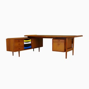 Vintage Danish Teak Writing Desk with Sideboard Set by Arne Vodder for Sibast, 1960s