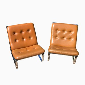 Spring Brown Leather Lounge Chairs by Ingmar Relling, 1960s, Set of 2