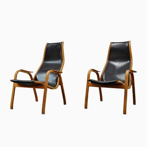 Vintage Kurva Lamino Lounge Chairs by Yngve Ekström for Swedese, 1960s, Set of 2