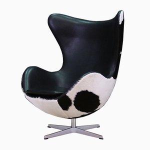 Sillón danés vintage de acero y cuero de Arne Jacobsen para Fritz Hansen, años 80