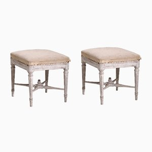 Antique Gustavian Stools, 1830s, Set of 2