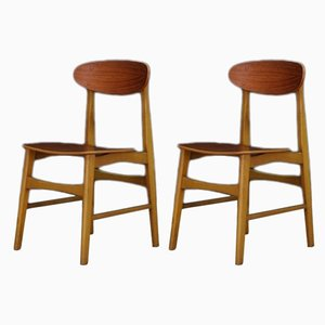 Vintage Danish Teak Side Chairs, 1960s, Set of 2