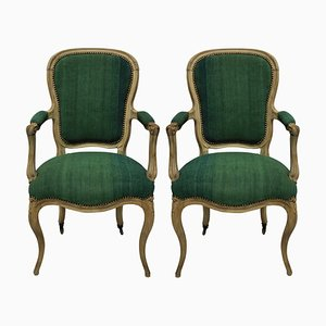 Antique Wood and Green Linen Armchairs, Set of 2