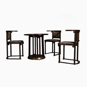 Beech Wood Dining Chairs and Table by Josef Hoffmann for Wittmann, 1960s, Set of 4