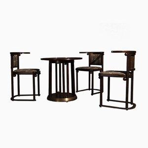Mesa y sillas de comedor de haya y madera de Josef Hoffmann para Wittmann, años 60. Juego de 4