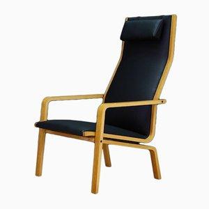 Sillón modelo 4335 danés vintage de fresno y cuero ecológico de Arne Jacobsen para Fritz Hansen, años 60