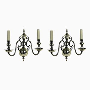 Antique Silver-Plated Sconces, Set of 2